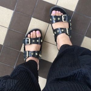 ASH Star Studded Leather Slide Sandals